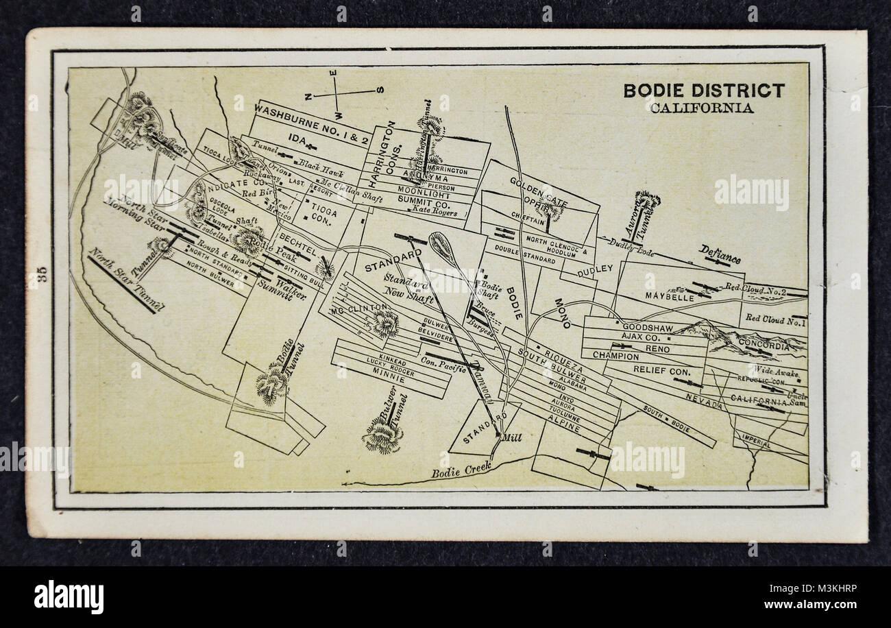 1882 Bradstreet Atlas Map Gold Mine Map Bodie District Stock