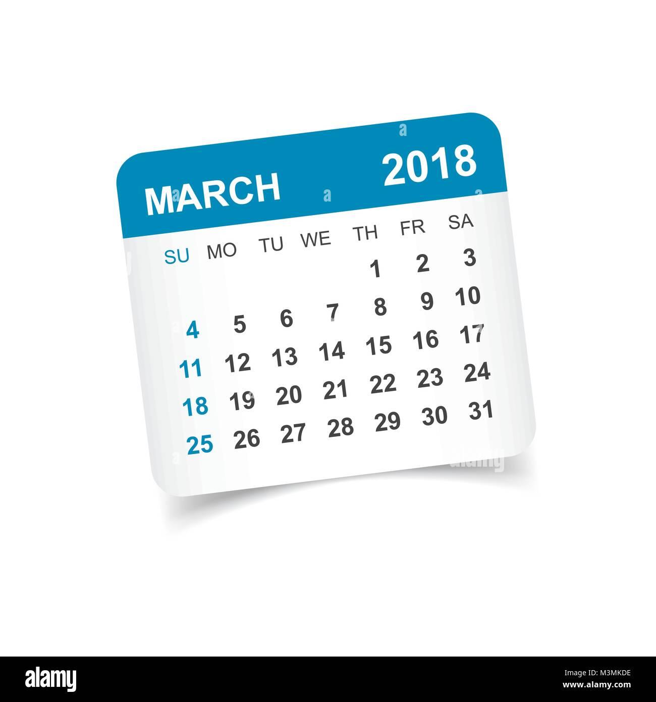 march 2018 calendar calendar sticker design template week starts