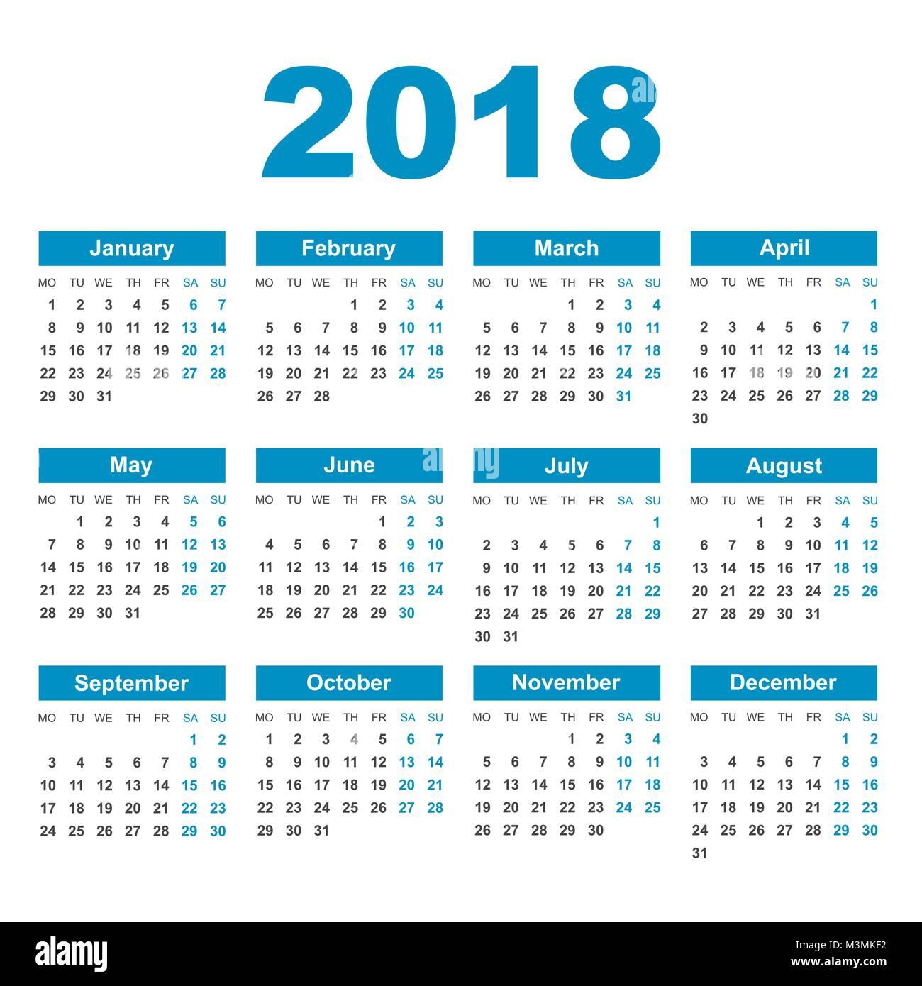 calendar 2018 year in simple style calendar planner design template