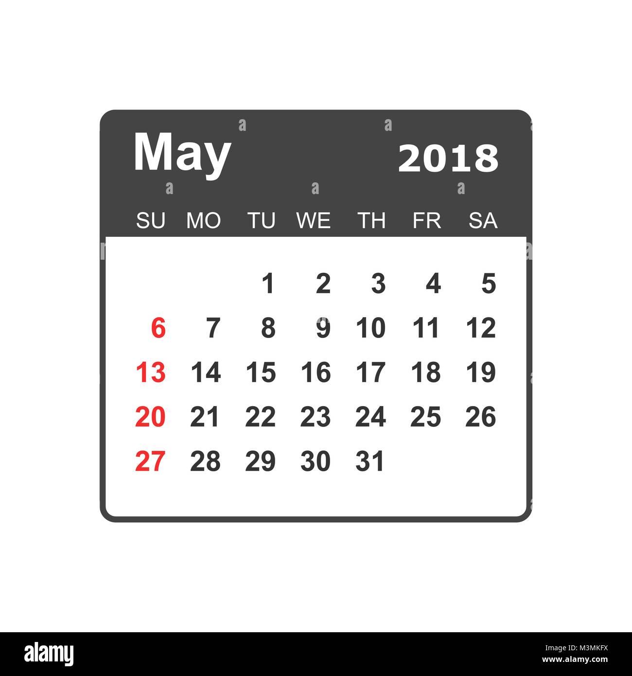 may 2018 calendar calendar planner design template week starts on sunday business vector illustration