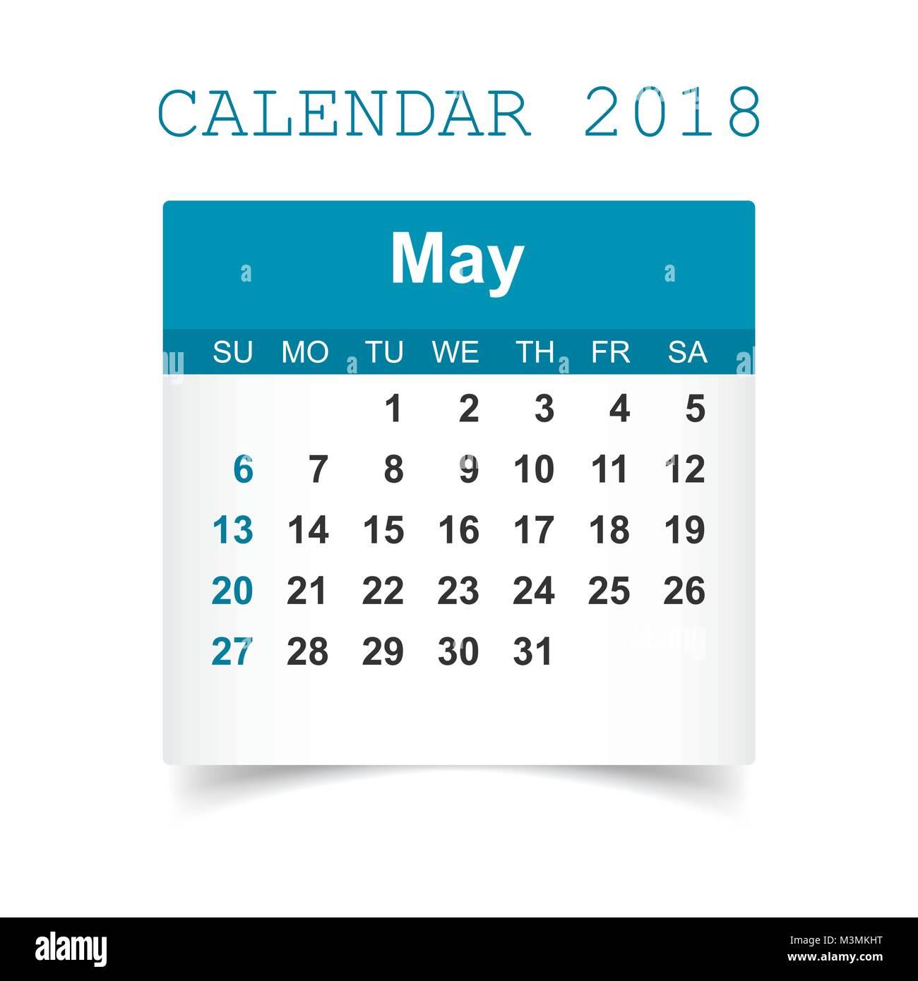 may 2018 calendar calendar sticker design template week starts on sunday business vector illustration