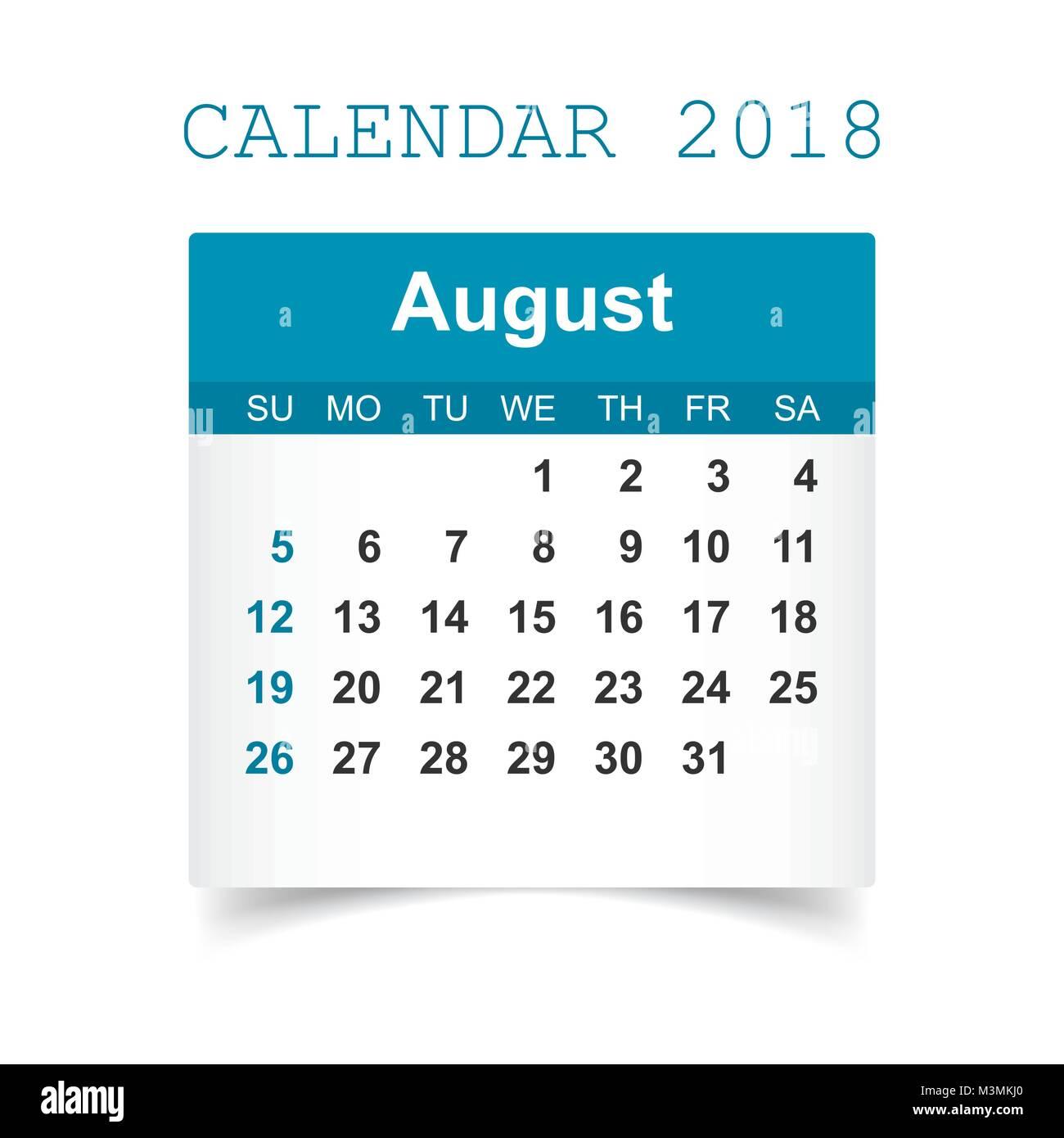 august 2018 calendar calendar sticker design template week starts