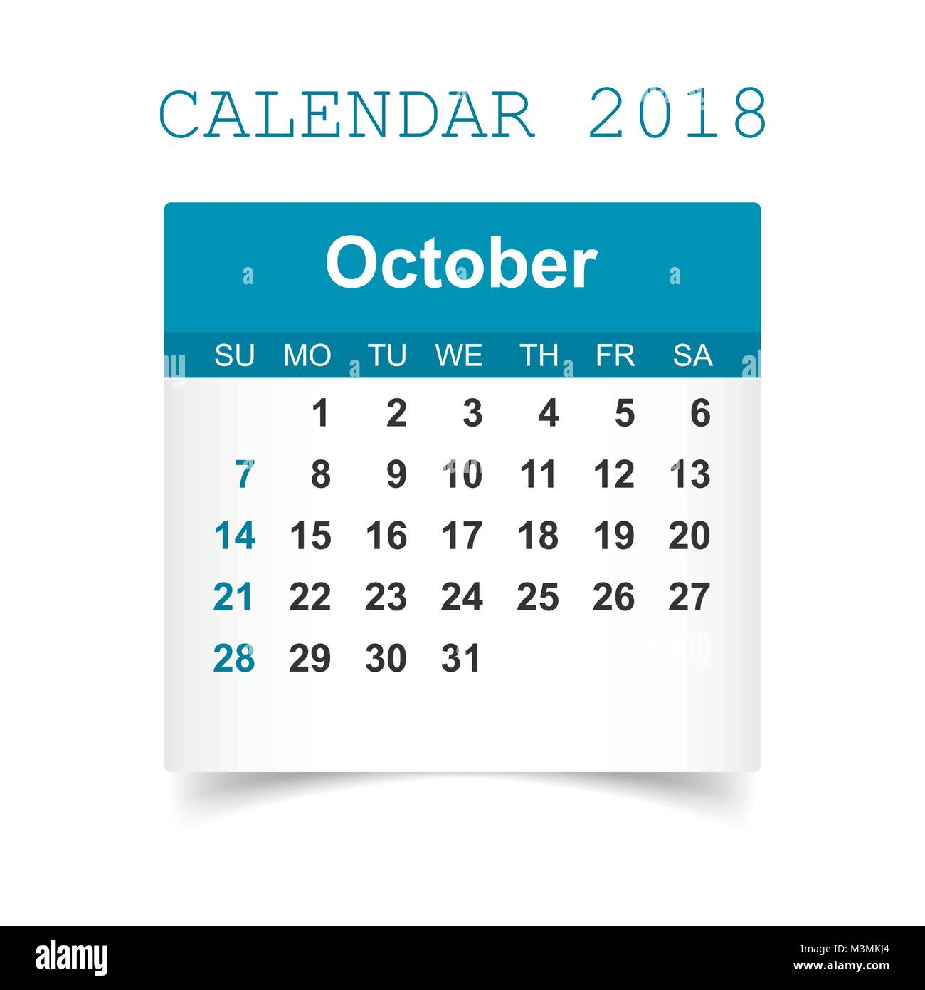 october 2018 calendar calendar sticker design template week starts on sunday business vector illustration