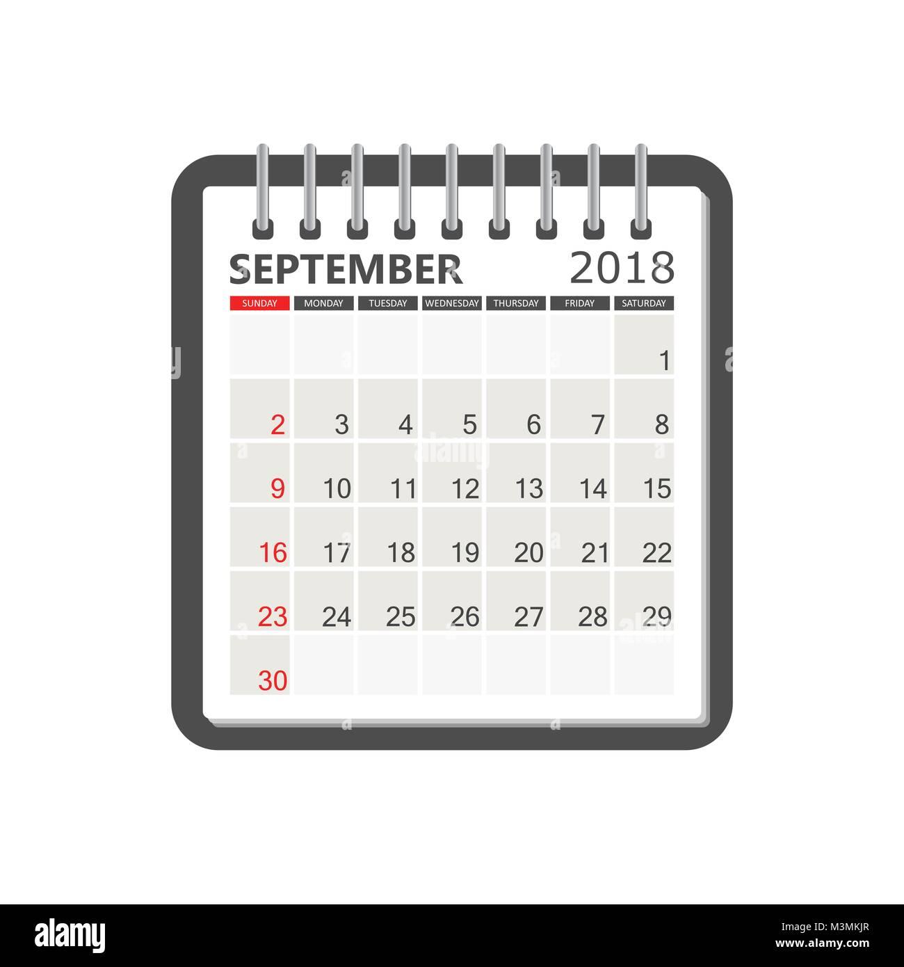 september 2018 calendar calendar notebook page template week starts on sunday business vector illustration