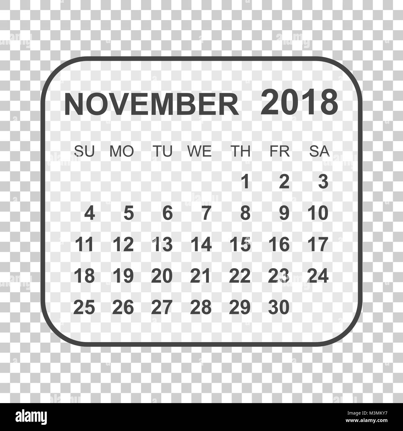 november 2018 calendar calendar planner design template week starts on sunday business vector illustration