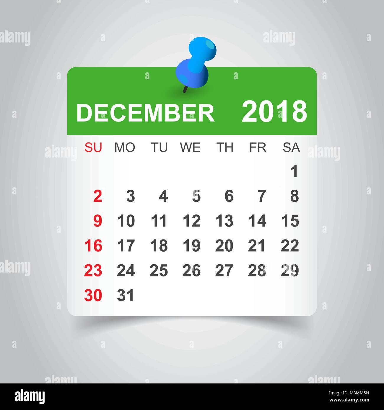 december 2018 calendar calendar sticker design template week