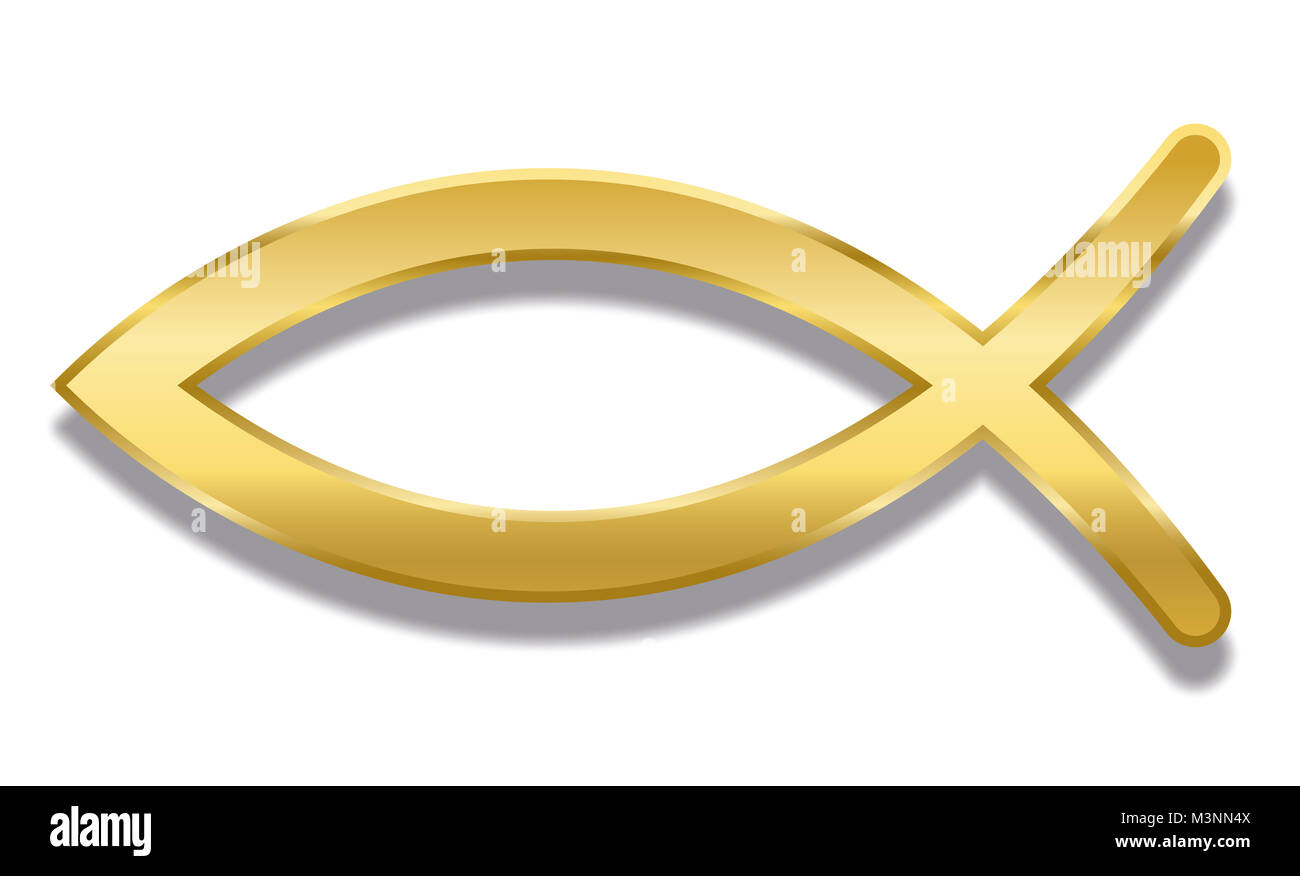 Christian symbol cut out stock images pictures alamy jesus fish golden christian symbol consisting of two intersecting arcs also called ichthys or biocorpaavc Image collections