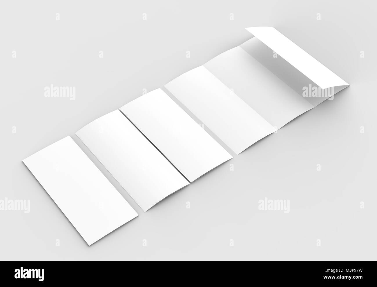 four folded 4 fold vertical brochure mock up isolated on soft
