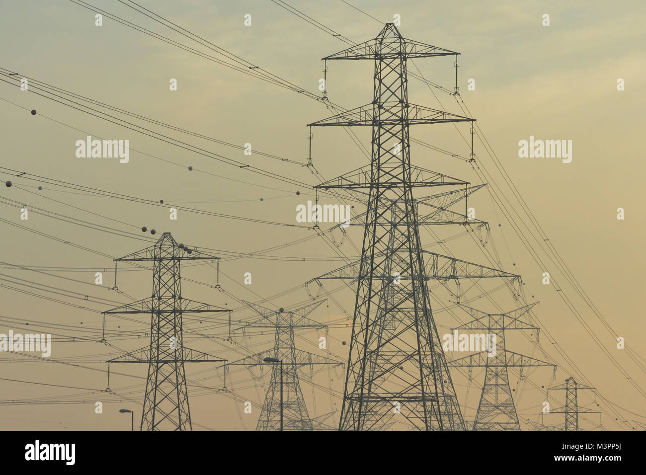 A view of the electric wires network alongside of a motorway near Dubai.  Credit: ASWphoto/Alamy Live News