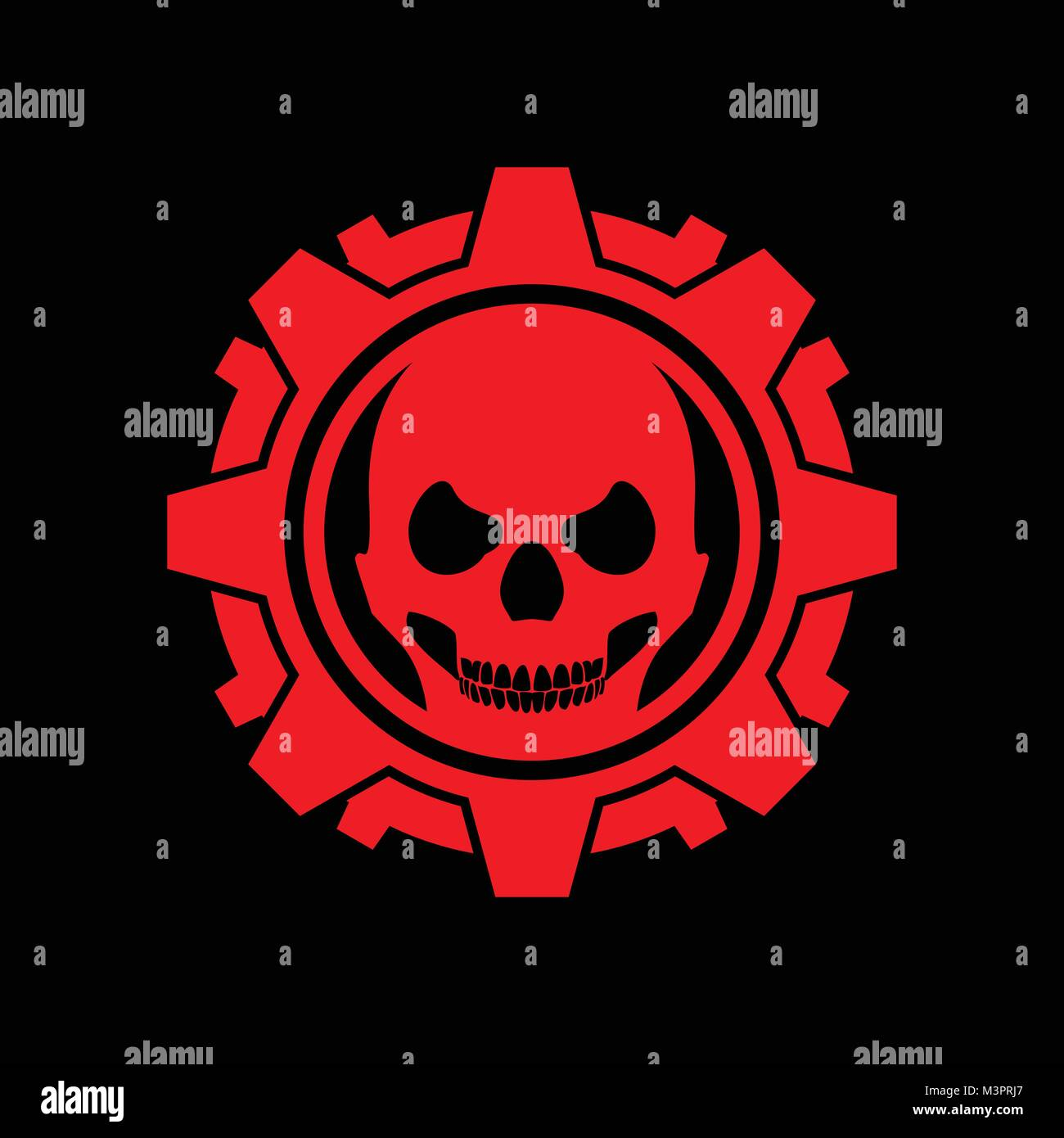 Skull gear machine black background vector symbol graphic design skull gear machine black background vector symbol graphic design buycottarizona Images