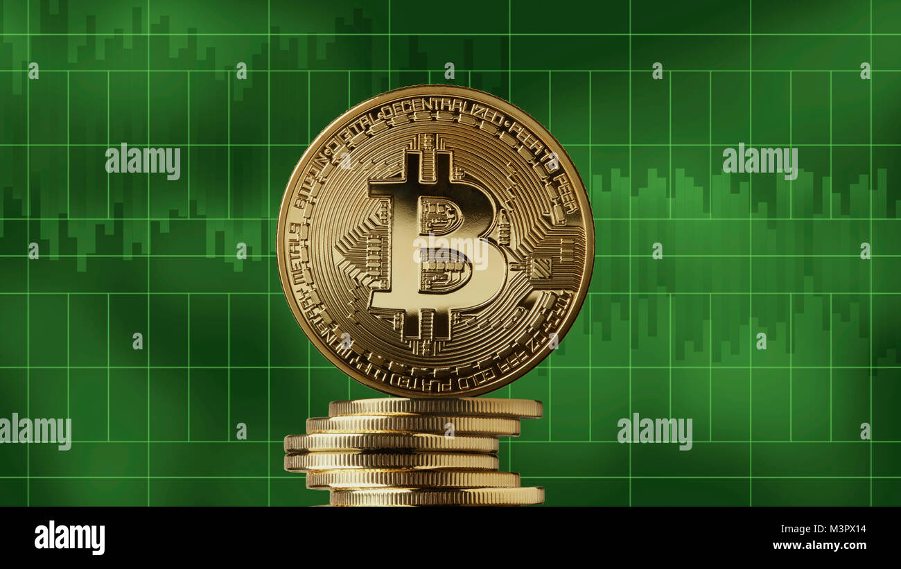 Stack of gold coins bitcoin on a green market charts background stack of gold coins bitcoin on a green market charts background cryptocurrency and blockchain trading concept growth of the crypto currency can be biocorpaavc Images