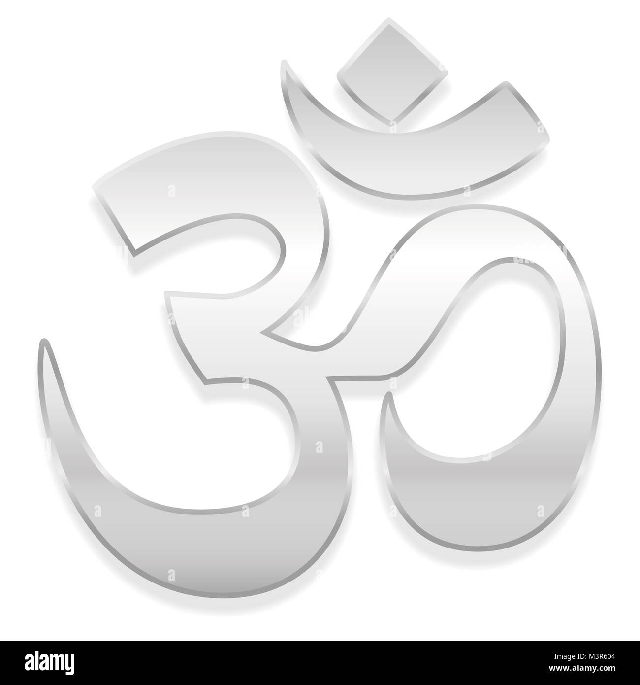 Om symbol cut out stock images pictures alamy om or aum symbol spiritual healing silver symbol of buddhism and hinduism illustration on biocorpaavc