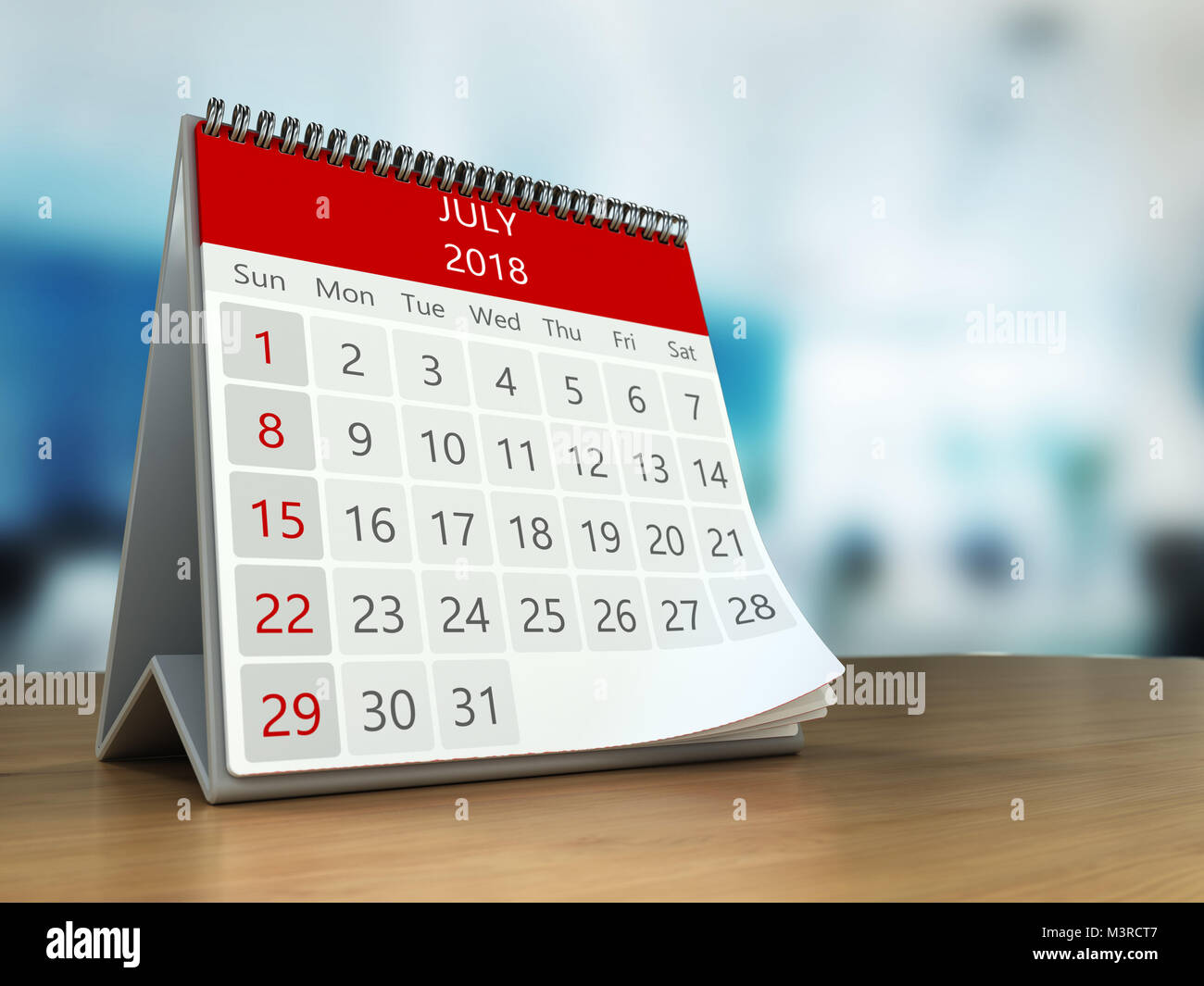 3d illustration of calendar on table desktop in office july 2018 page