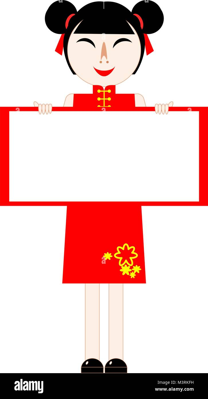 Chinese New Year card. Girl in red dress standing and holding blank ...