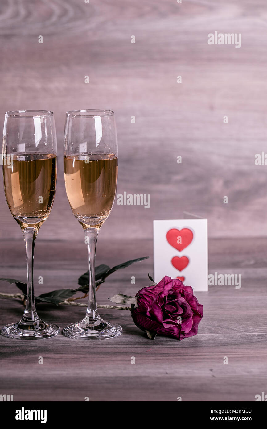 Valentines Day Champagne Wine Glasses And Love Message Stock Photo