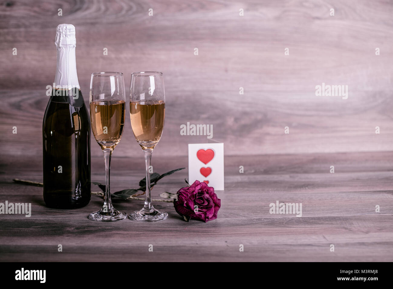Valentines Day Champagne Wine Glasses Rose And Love Message