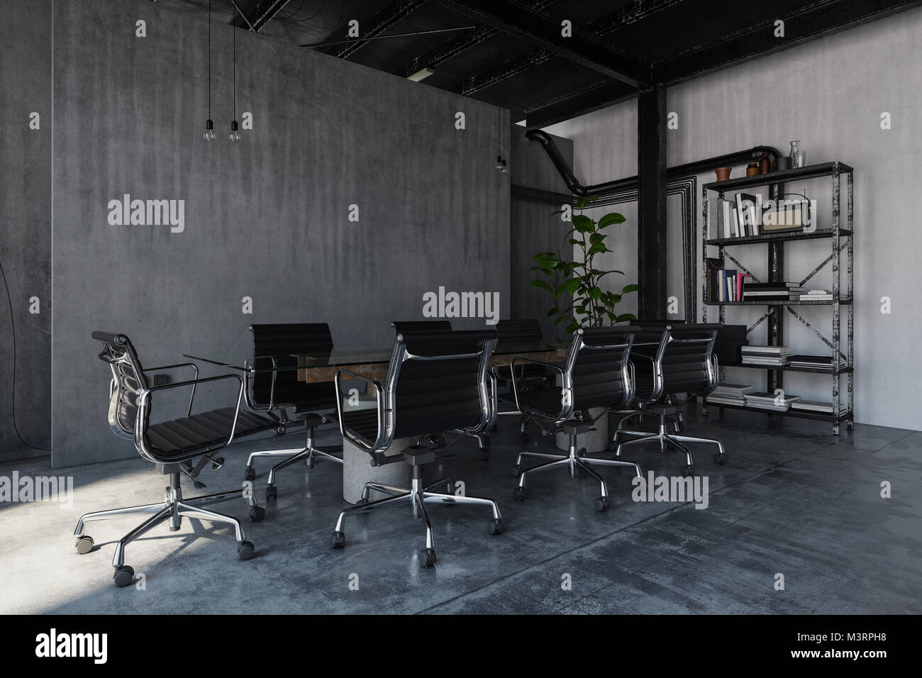 An industrial style, empty polished concrete office room with table ...