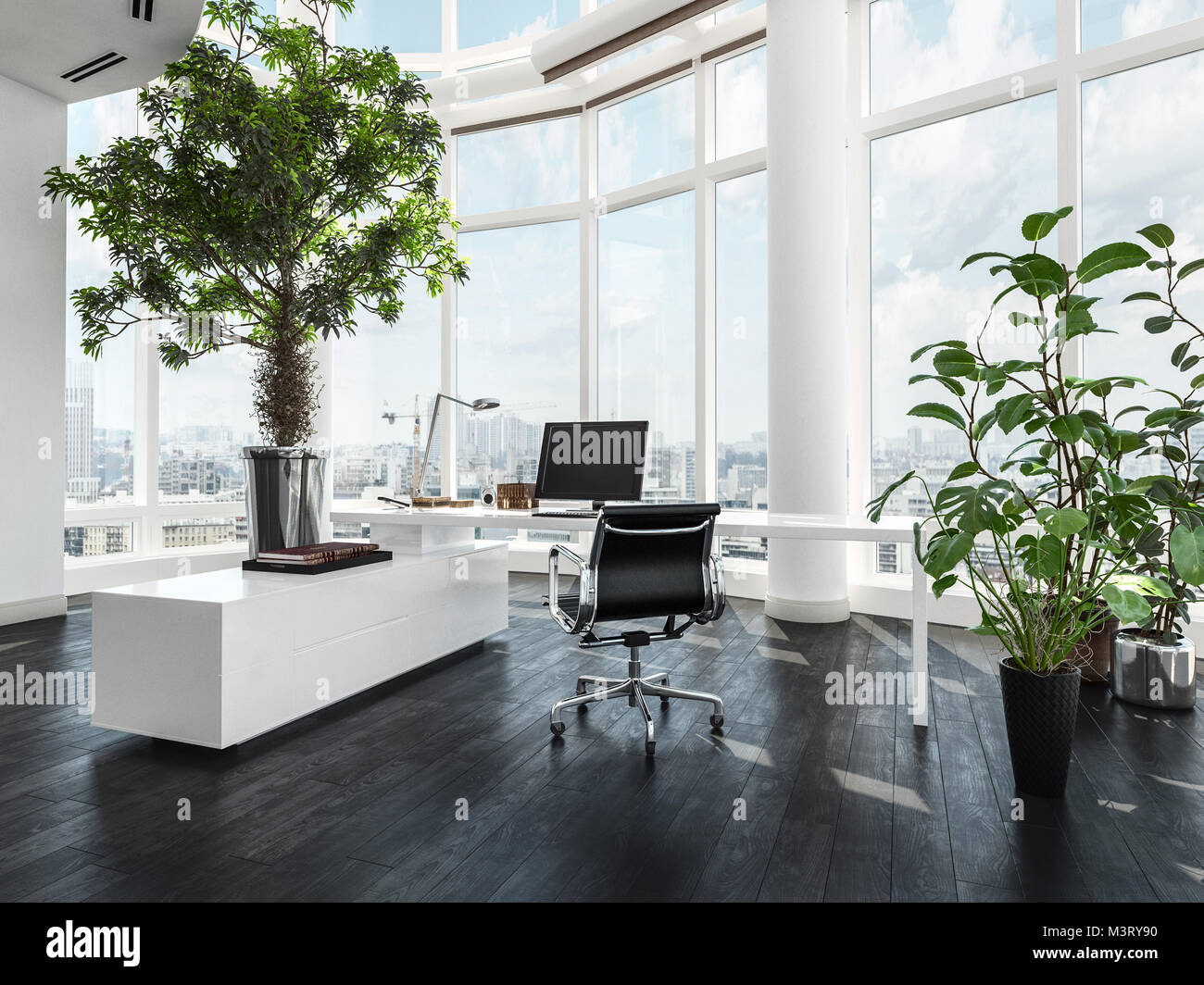 Modern luxury office interior in a pent house with curved white walls and windows overlooking a city and large green potted plants 3d rendering