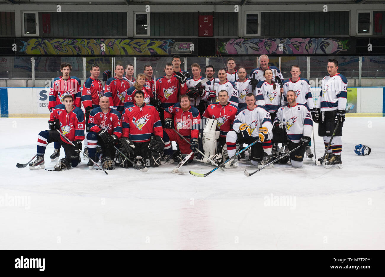 430871f13 Members of the Kaiserslautern Military Community Eagles Hockey Team pose  for a group photo during practice match in Zweibrucken