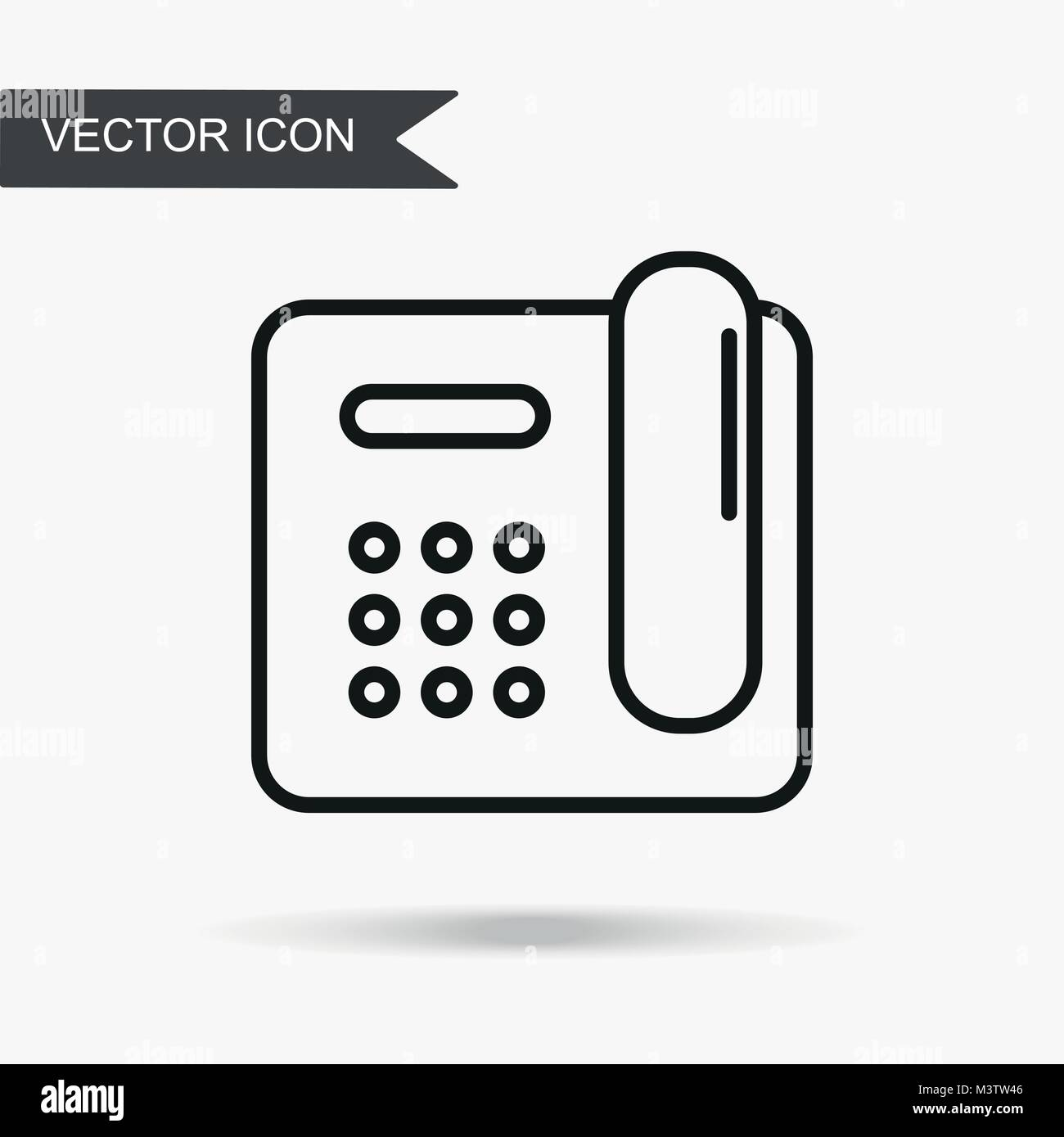 Modern and simple vector illustration of an old home wired phone ...