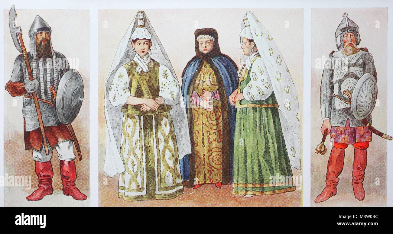 Fashion, clothes in Russia in the 16th - 17th century, left and ...
