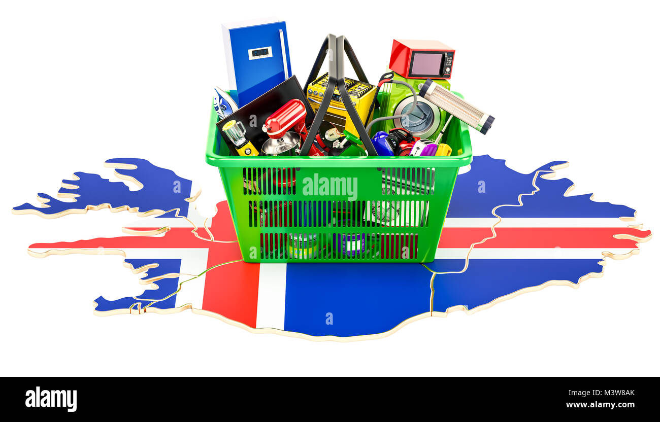 Map of Iceland with shopping basket full of home and kitchen Stock ...