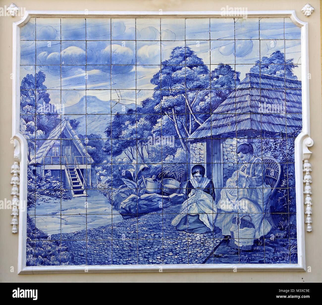 Tin glazed ceramic tiles stock photos tin glazed ceramic tiles ceramic glazed blue tiles depicting rural scene around 1908 dailygadgetfo Gallery