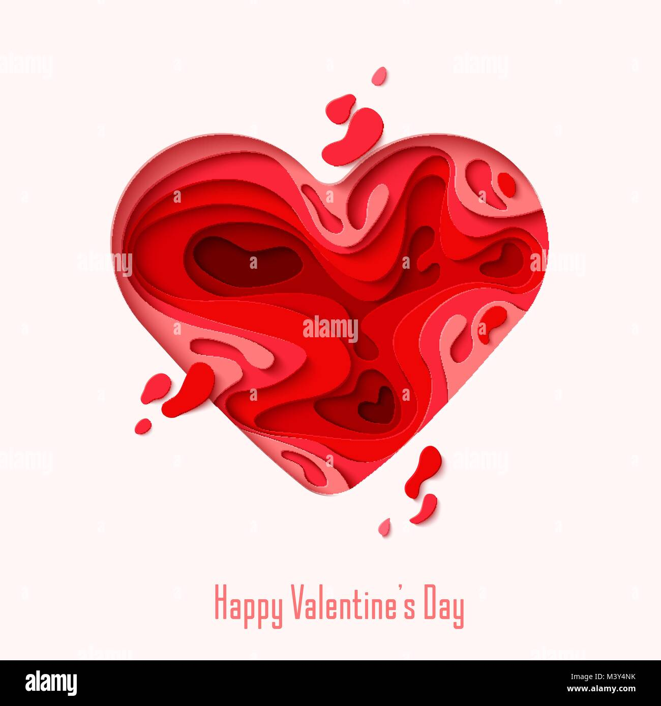 Happy valentines day greeting card 3d paper cut heart concept happy valentines day greeting card 3d paper cut heart concept design background vector illustration paper carving heart shapes with shadow februar kristyandbryce Gallery
