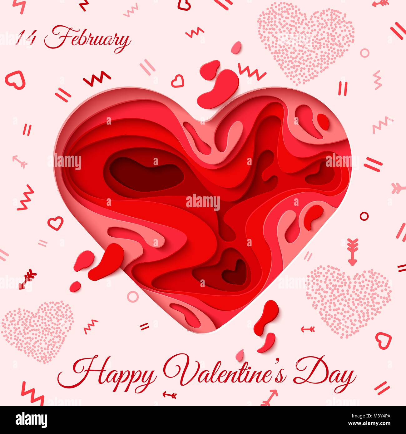 Happy Valentines Day Greeting Card 3d Paper Cut Heart Concept