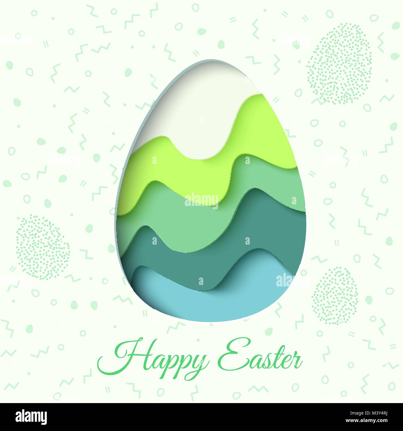 happy easter greeting card 3d paper cut easter egg concept design