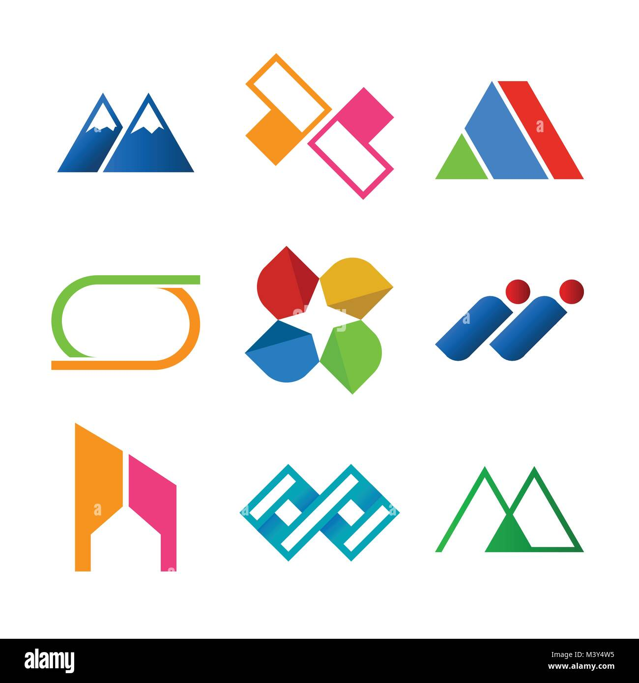 Corporate logo stock photos corporate logo stock images alamy abstract corporate symbol shape vector illustration graphic design set stock image biocorpaavc Images