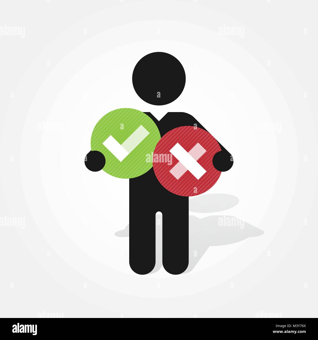 Figure Man Holds Right And Wrong Symbol In Circle Stock Vector Art