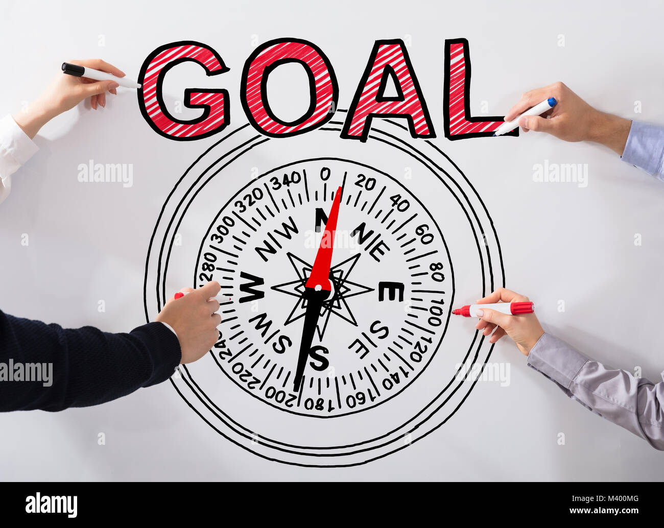 Business peoples hand drawing goal concept and compass diagram on business peoples hand drawing goal concept and compass diagram on white background pooptronica