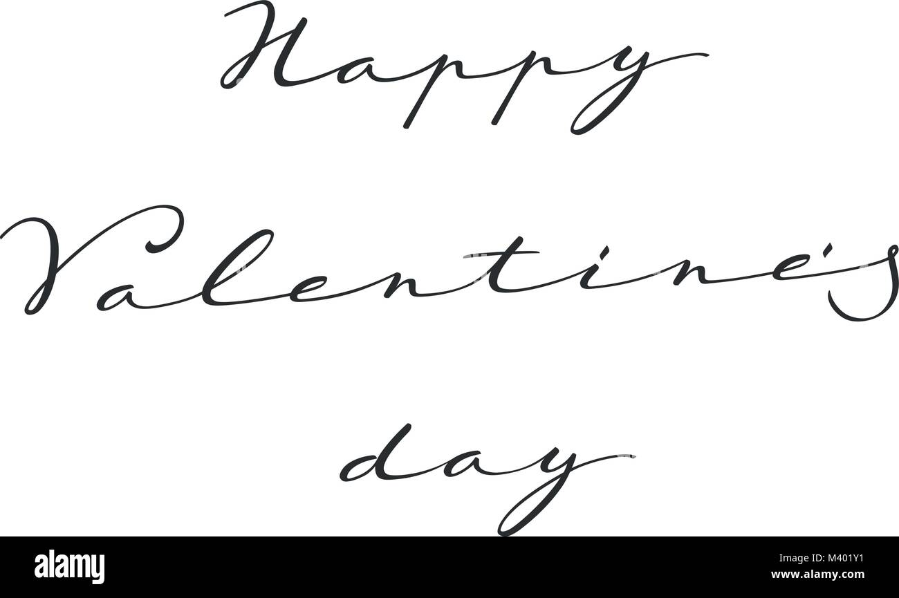 Happy Valentines Day Hand Lettering Greeting Stock Vector Art