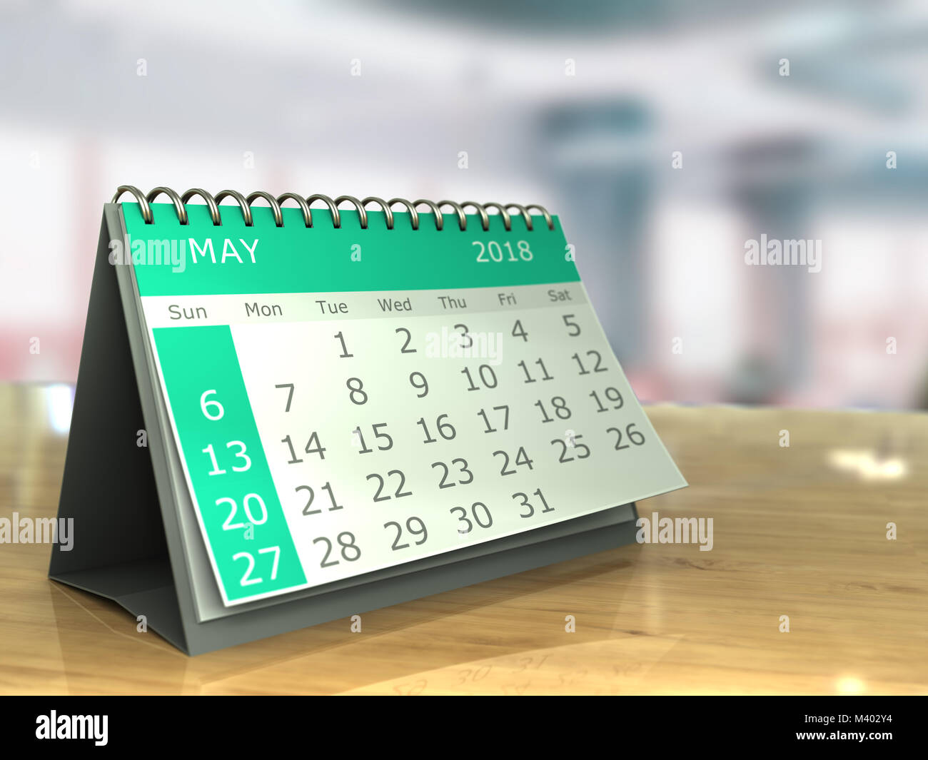 3d illustration of may 2018 calendar on office table