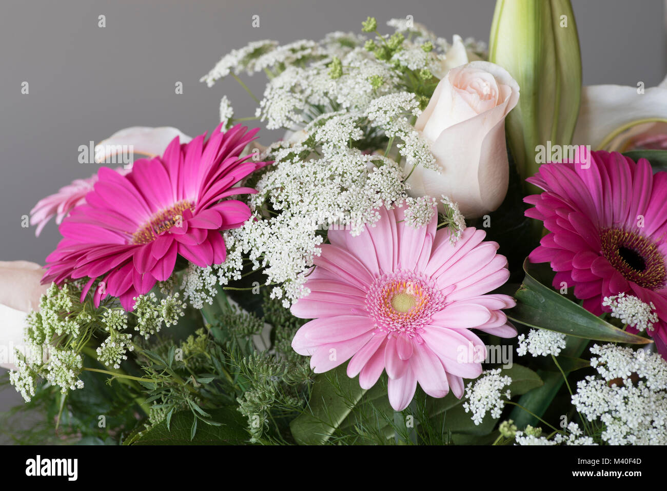 Colorful flower bouquet with Gerbera Daisies, a rose, and Baby\'s ...