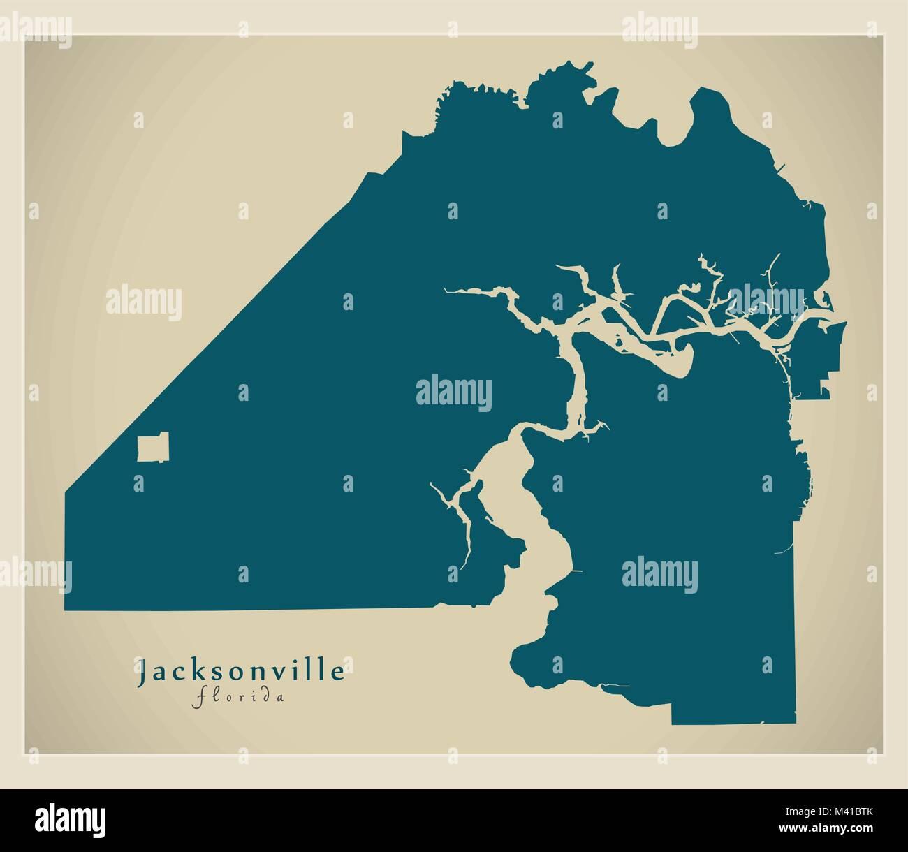 Map Jacksonville Florida.Modern Map Jacksonville Florida City Of The Usa Stock Vector Art