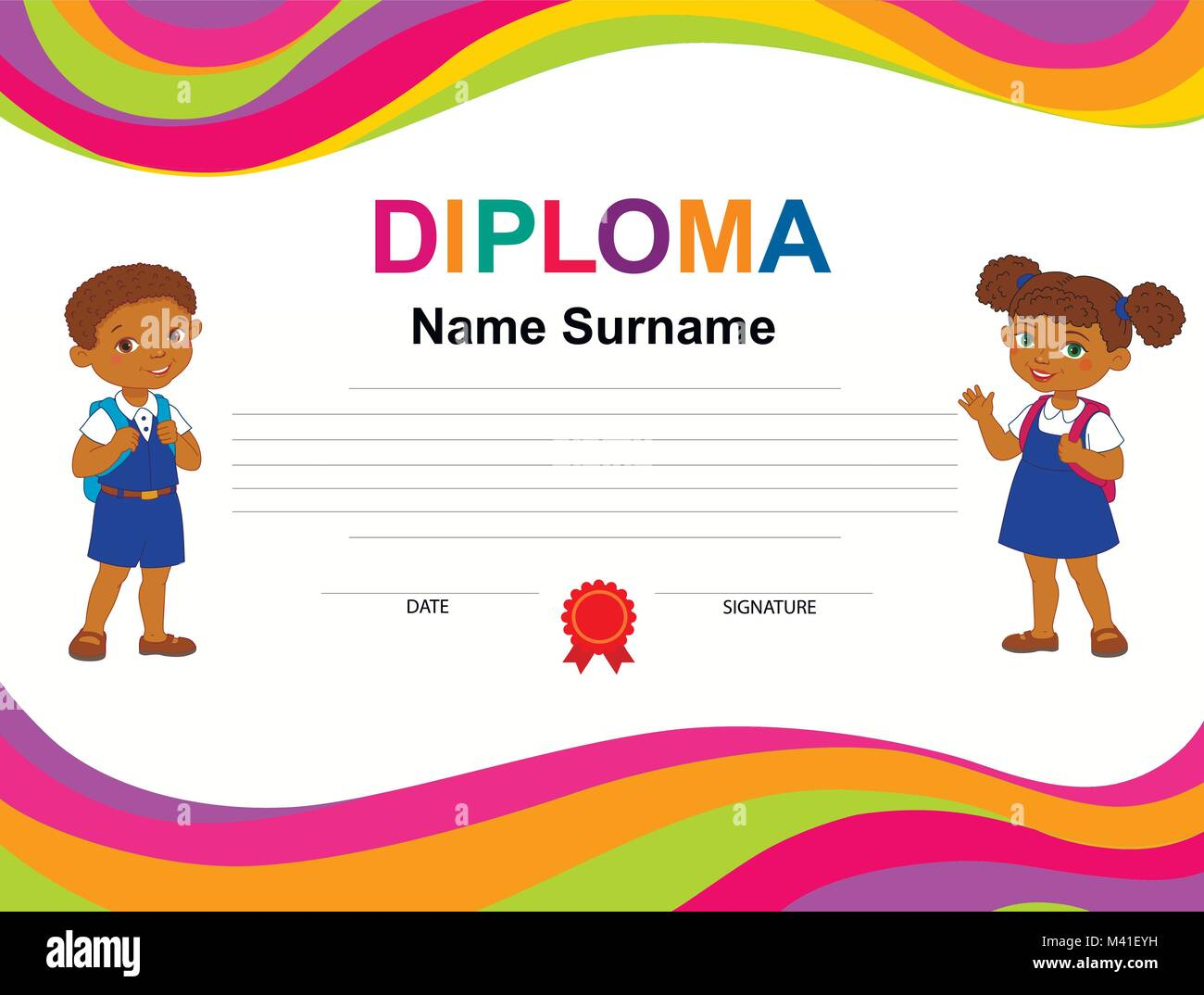 kids diploma certificate background design template stock vector art