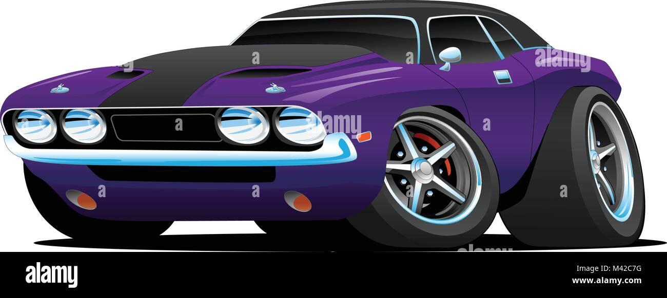 Classic Muscle Car Cartoon Illustration Stock Vector Art