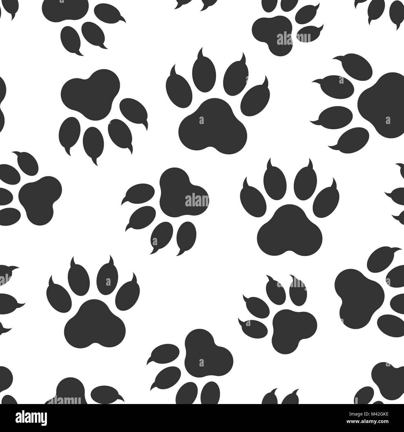 Paw Print Icon Seamless Pattern Background Business Flat Vector