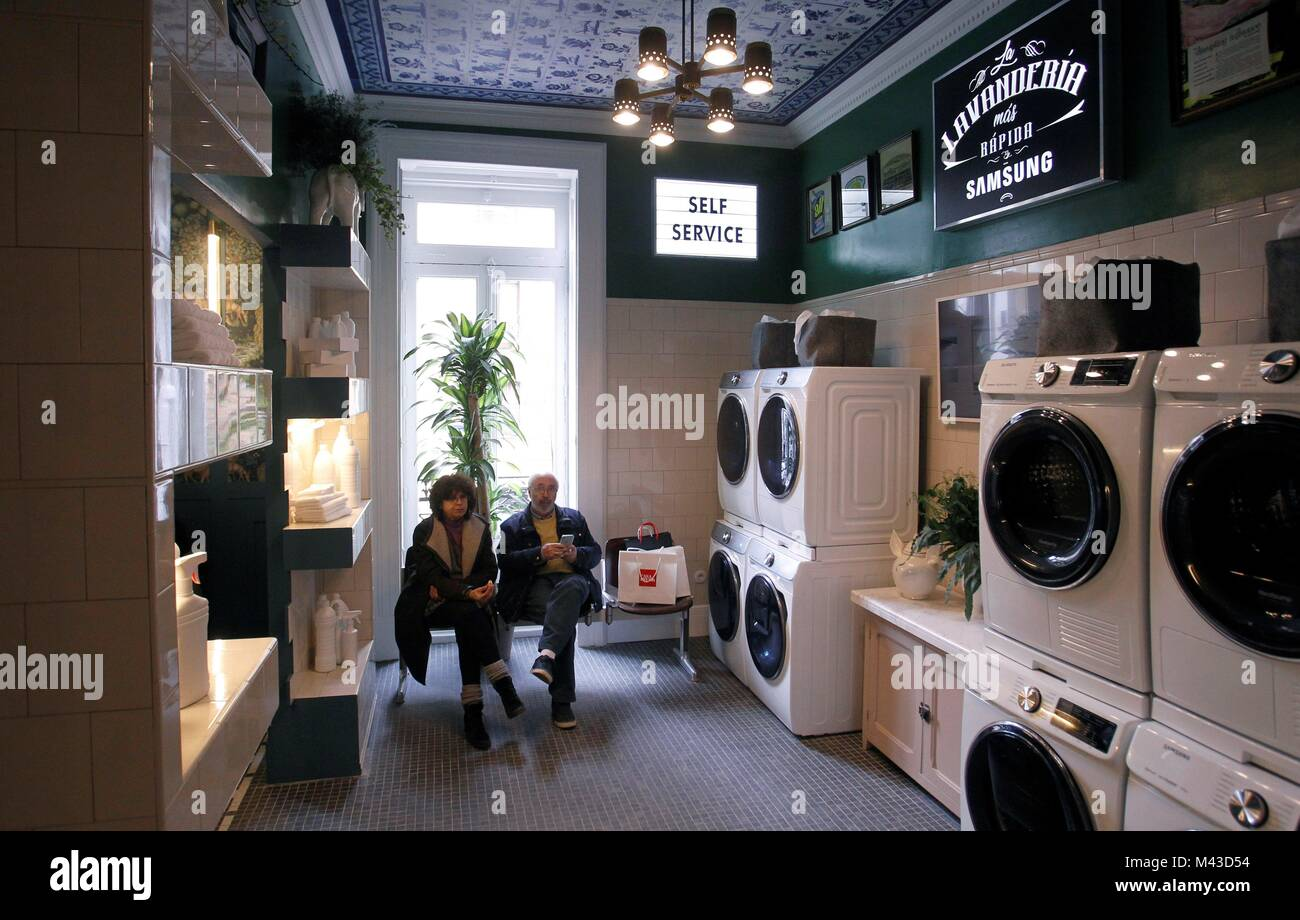 View Of Spanish Interior Designer Guillermo Garcia De La Hozu0027s Space  U0027Samsung Clubu0027, A Bar Built Into A Laundry Washing Service And Presented  During The ...