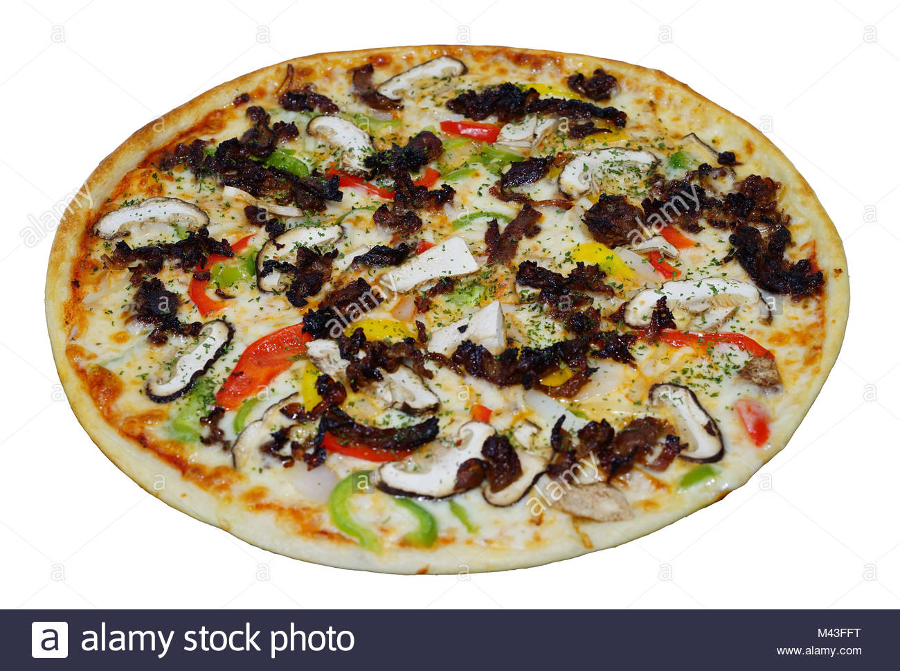 bulgogi pizza isolated on white background stock photo 174640364