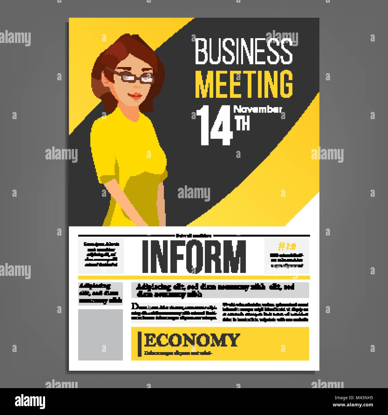 Business meeting poster vector business woman invitation and date business meeting poster vector business woman invitation and date conference template a4 size cover annual report flat cartoon illustration stopboris Image collections