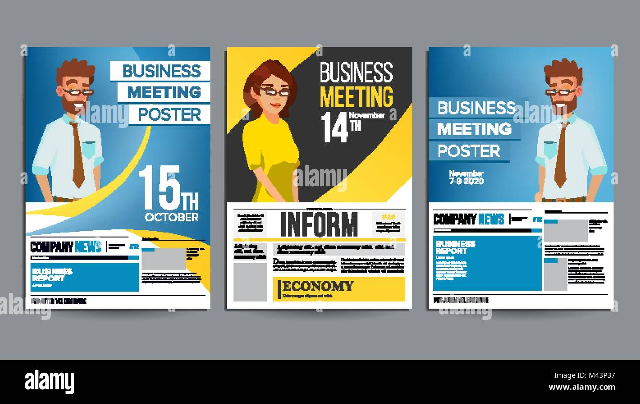 Business meeting poster set vector businessman and business woman business meeting poster set vector businessman and business woman invitation and date conference template a4 size cover annual report flat carto stopboris Image collections