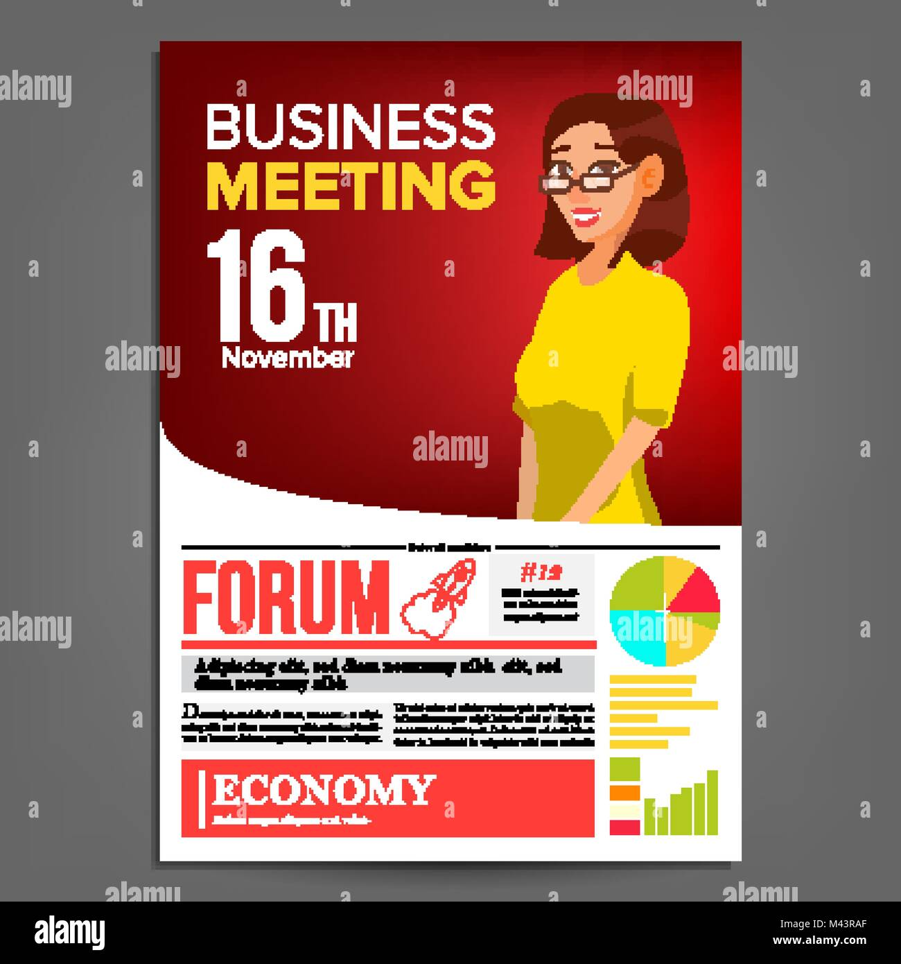 Business meeting poster vector business woman invitation and date business meeting poster vector business woman invitation and date conference template a4 size red yellow cover annual report conference room p stopboris Image collections