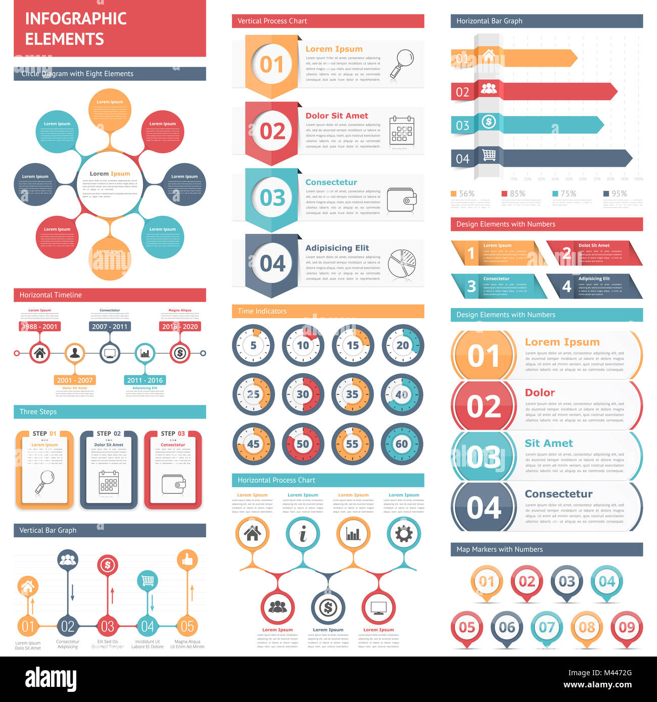 infographic elements circle diagram timeline bar graphs design