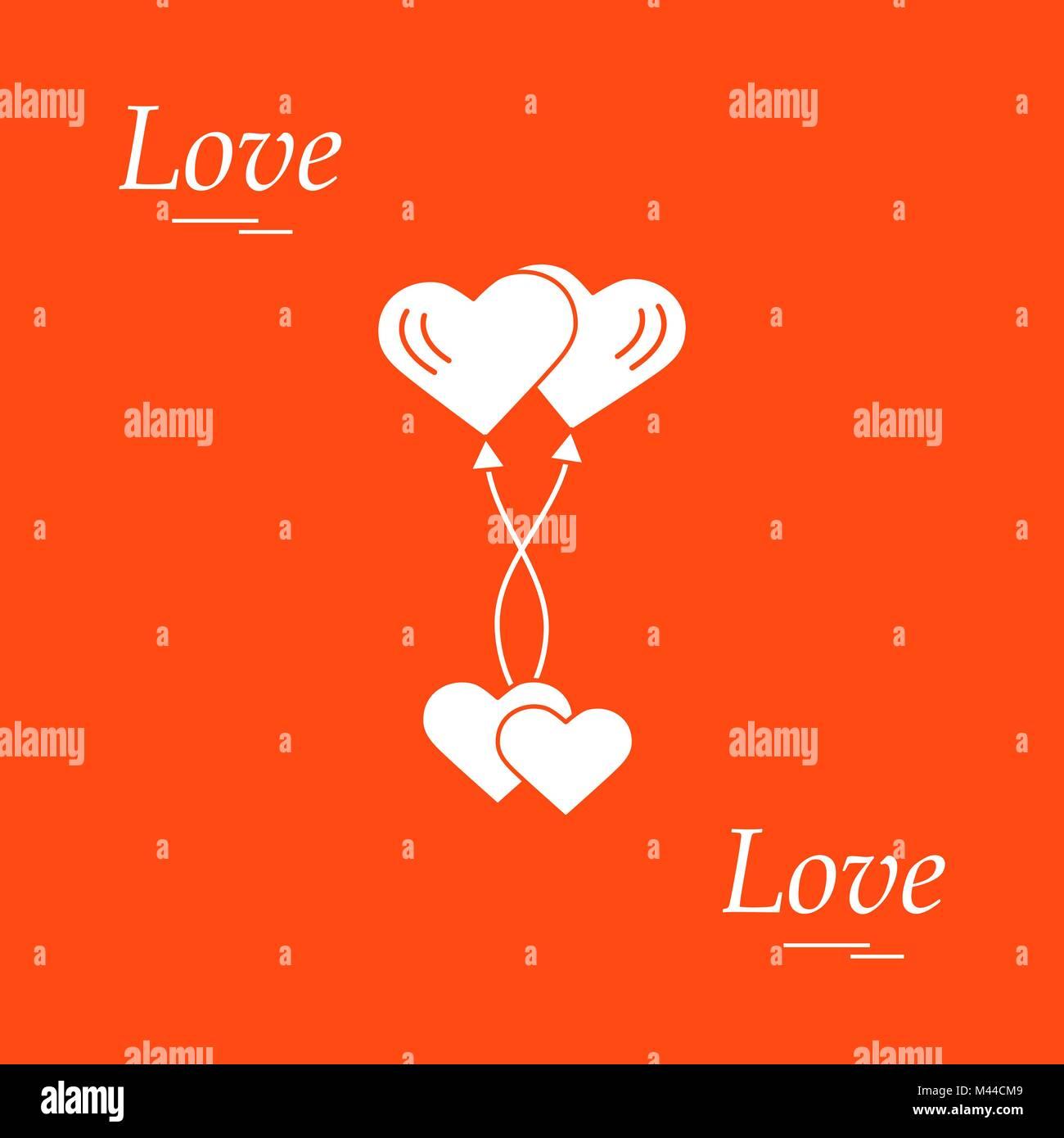 Cute vector illustration of love symbols heart air balloons icon cute vector illustration of love symbols heart air balloons icon and two hearts romantic buycottarizona Images