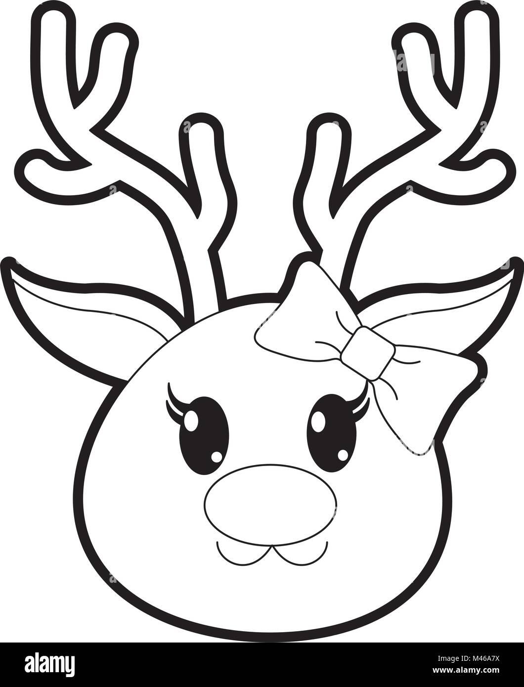 outline female reindeer head cute animal stock vector art