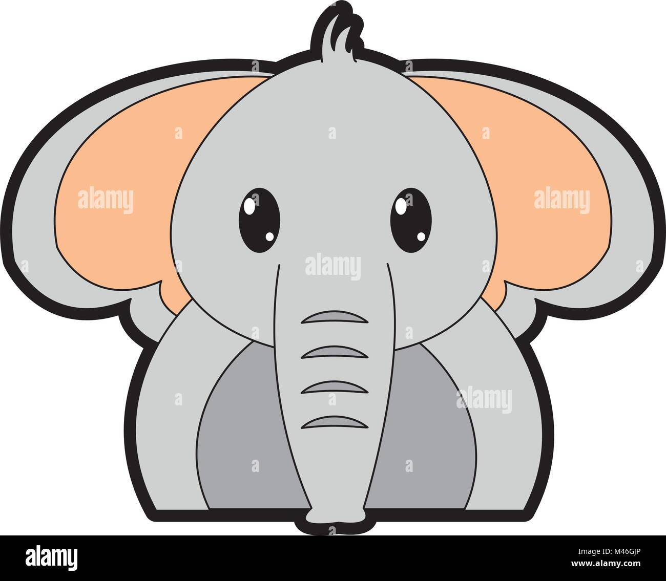 full color adorable elephant cute animal character Stock Vector Art ...