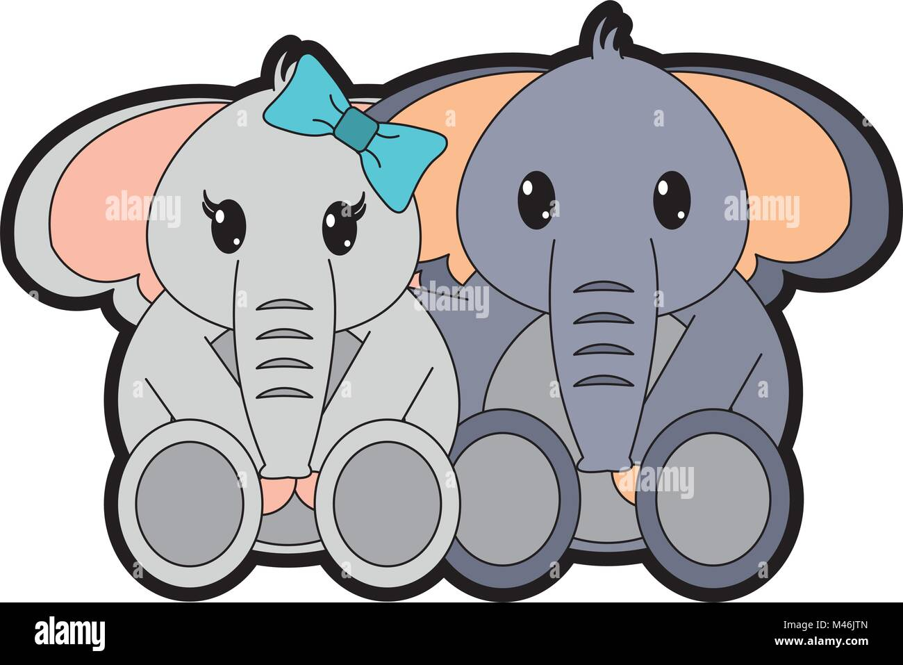 full color couple elephant cute animal together Stock Vector Art ...